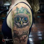 Owl Tattoo by Brian Ulibarri color realism, realistic tattoos, surrealism, painted portrait